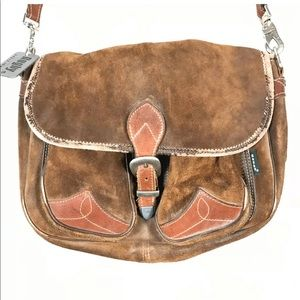 Distressed Suede Leather Crossbody Messenger Bag